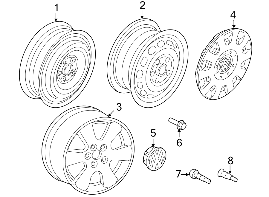 Diagram WHEELS. for your Volkswagen e-Golf